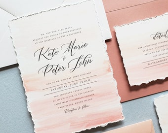 Pink Kate Minimalist Wedding Invitation Sample with Deckled Edges and Pink Watercolor - Dusty Rose Envelope, Black and White Modern Invite