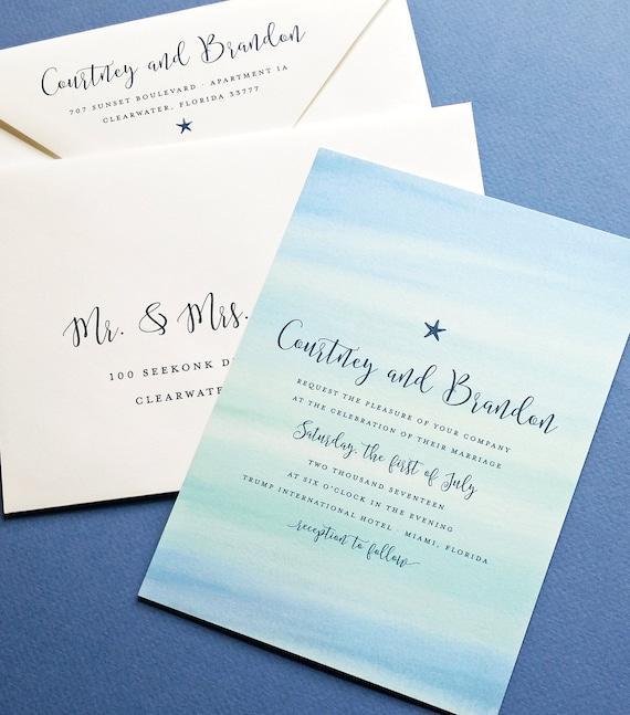 Courtney Aqua Blau Aquarell Strand Hochzeit Einladung Probe