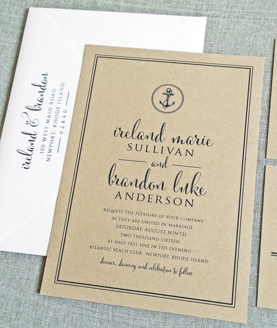 Ireland kraft nautical anchor wedding invitation sample etsy image 0 filmwisefo