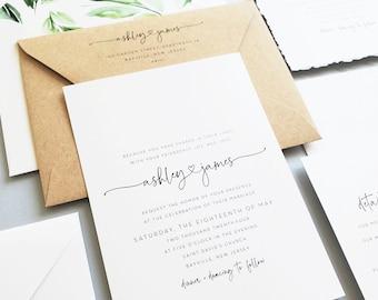 Minimalist Wedding Invitation Sample with Deckled Edges - New Ashley Wedding Invitation, Black and White Modern Calligraphy