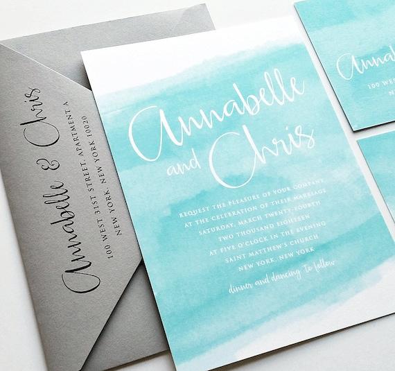 Annabelle Aqua aquarelle plage mariage Invitation échantillon   Etsy 2177466f1d9