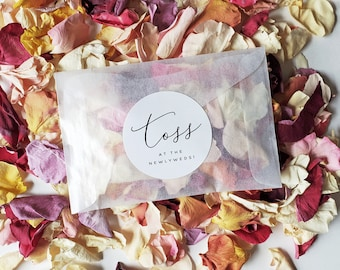 Wedding Petal Toss Packets - Biodegradable Wedding Flower Confetti Bags - Eco-Friendly Freeze-Dried Rose Petals in Glassine Bags