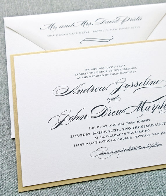 Formal Attire On Wedding Invitation: Andrea Script Metallic Gold Layered Wedding Invitation