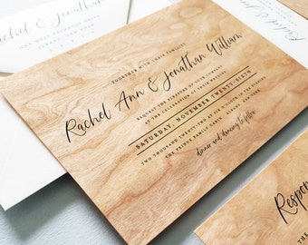Wood Wedding Invitation Sample - Rachel Real Wood Outdoor Rustic Country Wedding Invitation Design, Unique Barn Wedding Invite