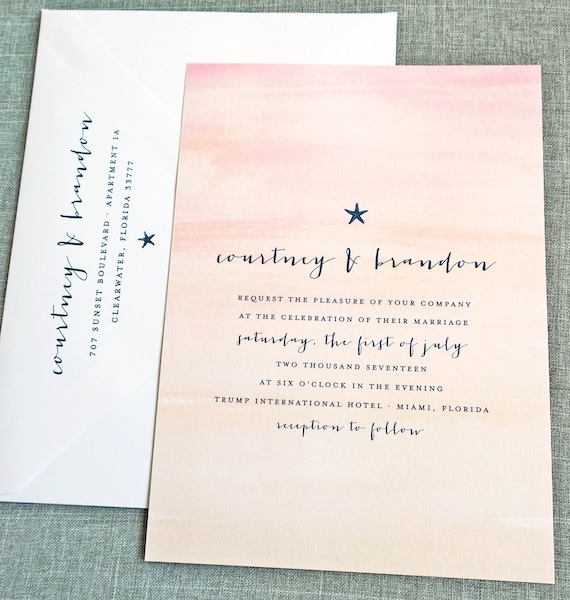 Courtney Watercolor Sunset Beach Wedding Invitation Sample Etsy