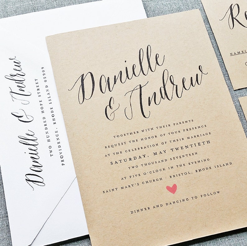 Danielle Rustic Wedding Invitation Sample On Recycled Kraft Etsy