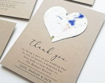 Wedding Favor Cards or Charity Donation Cards - Plantable Heart Seeded Paper - Reception Thank You and Charity Donation Favor Cards