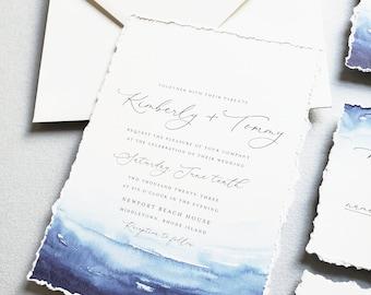 Kimberly Beach Wedding Invitation Sample with Deckled Edges - Blue Watercolor Waves, Beach Wedding Invite