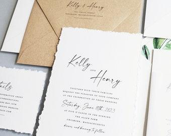 Minimalist Wedding Invitation Sample with Deckled Edges - New Kelly Wedding Invitation, Modern Calligraphy, Vellum Wrap with Wax Seal