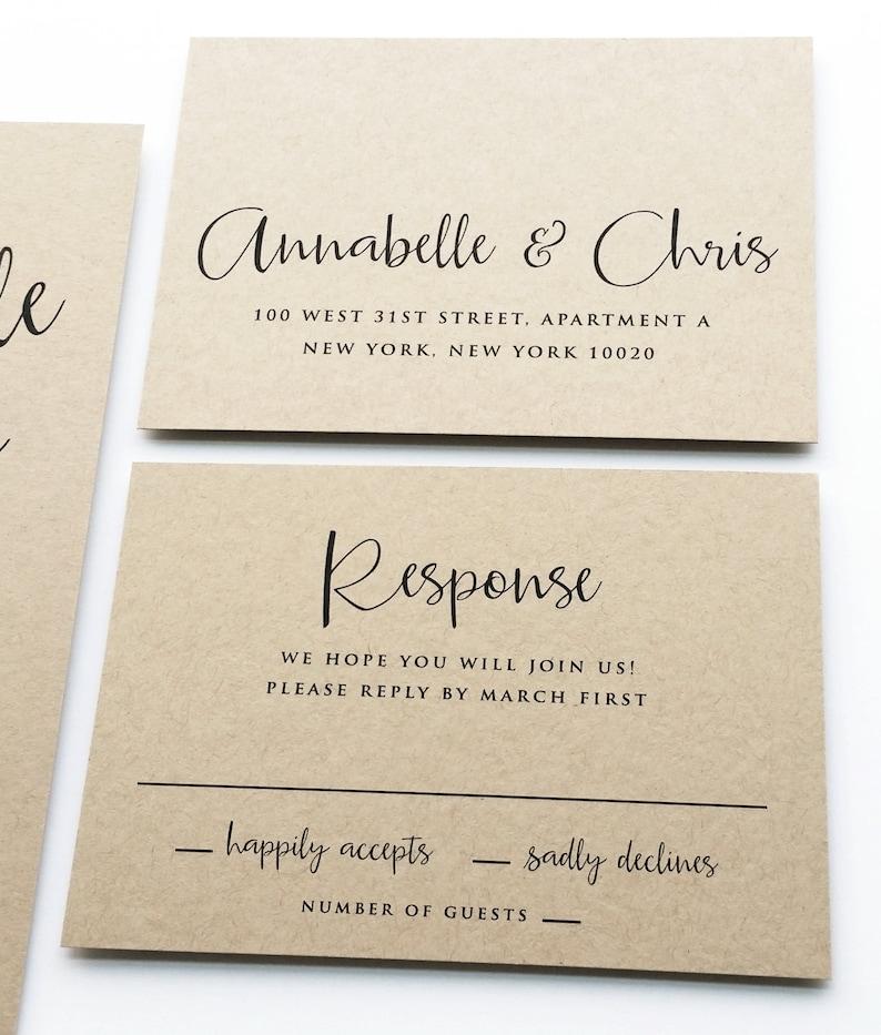 Annabelle Modern Calligraphy Script Recycled Kraft Rustic Wedding  Invitation Sample