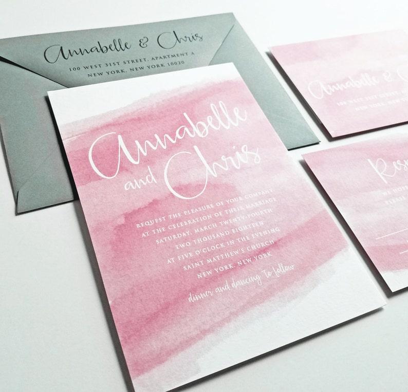 NEW Annabelle Burgundy Watercolor Wedding Invitation Sample - Modern  Calligraphy Script, Maroon Fall Wedding