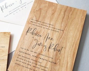 NEW Rebecca Wedding Invitation Sample - Real Wood Outdoor Rustic Country Wedding Invitation, Unique Woodland Wedding Invite