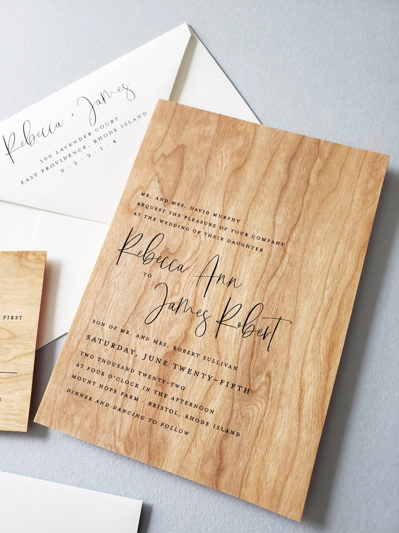 NEW Rebecca Real Wood Wedding Invitation Sample  Outdoor image 0