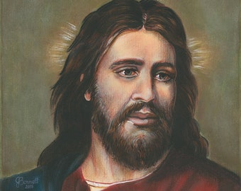 "Our Lord Jesus, King of Kings, Savior, 8""x10"" & 11""x14"" Prints on White Card Stock from my Signed, Acrylic Painting , Catholic Art,"