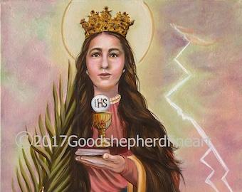 "Saint Barbara, Virgin, Great Martyr Barbara, Holy Helper 16"" x 20"" Signed, Original, OOAK, Acrylic Painting on Canvas, Catholic Art, signed"