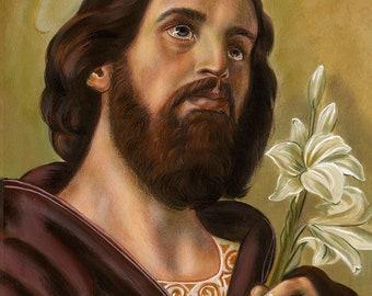 "St Joseph Holding Lilies, Chaste Spouse of Mary Original 16"" X 20"" Acrylic Painting on Canvas, OOAK Original Painting, Catholic Art, signed"