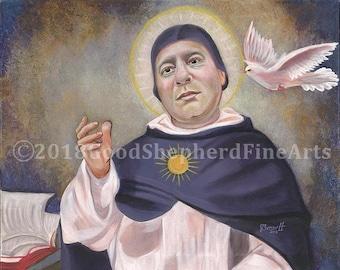 "St. Thomas Aquinas, Doctor of the Church, Chatholic Friar & Priest 16""x20"" OOAK, Original, Acrylic Painting on Canvas, Catholic Art, signed"
