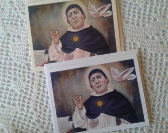 St. Thomas Aquinas Doctor of the Church Stationary Cards on Ivory & White Card Stock, Image taken from my Signed, Original, Acrylic Painting
