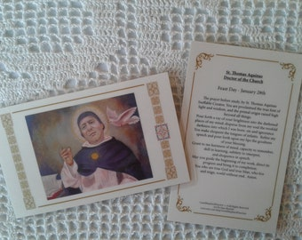 St. Thomas Aquinas Doctor of the Church Laminated Holy-Prayer Cards, Warm White Card Stock, taken from my Signed, Original, Acrylic Painting