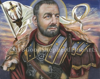 """Saint Eustace, Eustachius, Martyr, Holy Helper, OOAK, Signed, Original Acrylic 16"""" X 20"""" Painting on Canvas Catholic Devotional Art, signed"""