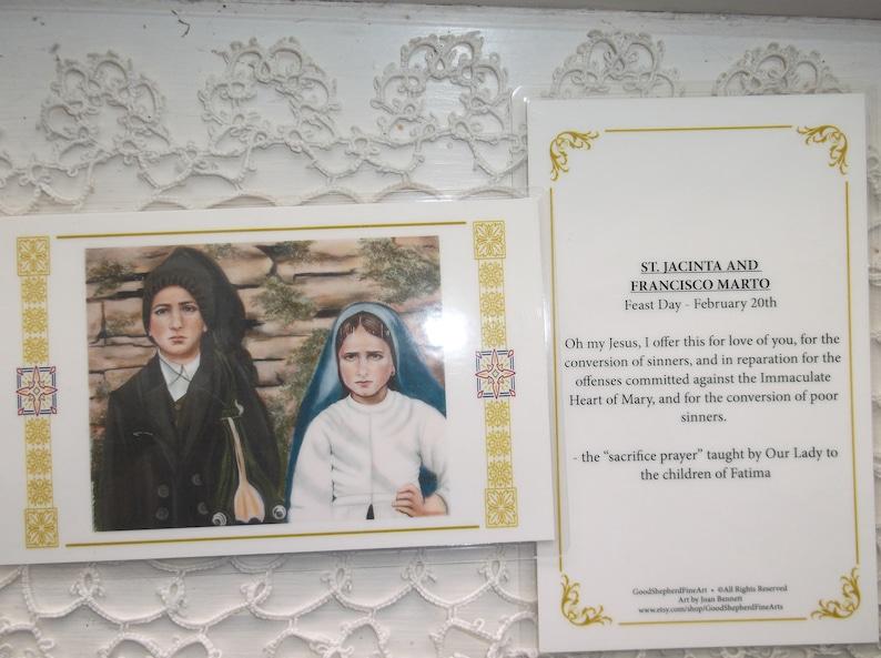 Acrylic Painting Francisco-Jacinta Marto 3 58x5.5 Laminated Holy-Prayer Card on Warm White Card Stock Image taken from my Signed Sts