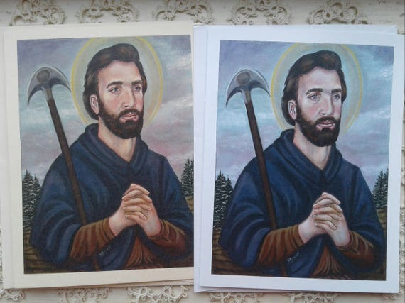 Patron Saint OOAK Saint Grellan Stationery Cards WEnvelope on White and Ivory Card Stock taken from my Signed Original Acrylic Painting