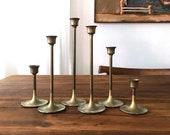 Graduated Modern Tulip Base Brass Candlesticks (Set of 6)