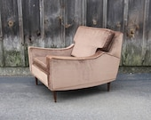 Gorgeous Chocolate Brown Velvet Midcentury Armchair. T.H. Robsjohn-Gibbings / Dunbar Style Chair
