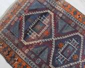 Authentic Moroccan Woven Area Rug Purple, Blue & Orange - 4 feet x 6.5 feet