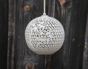 Pierced Porcelain White Blanc de Chine Hanging Round Lantern