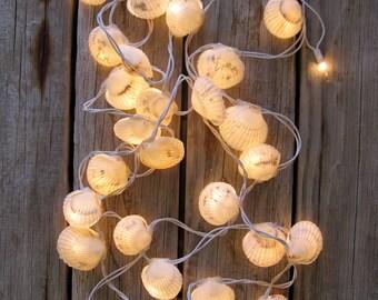 Beach Wedding.  Seashell Tea Light Strand. 15 Feet Long.