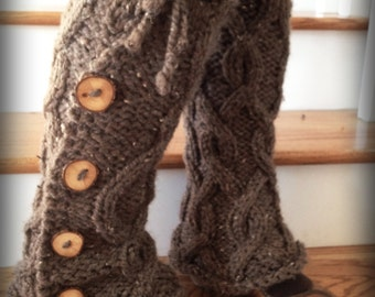 FABulous chunky cabled legwarmers with buttons- CHOOSE YOUR COLOR