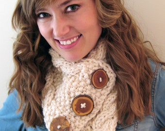Chunky Cabled Wood Button Up Cowl- Choose Your Color