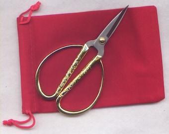 Gold Phoenix Scissors Sturdy Sharp Metal Handy Convenient 1 Pair Great Gift
