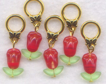 Red Tulips Knitting Stitch Markers Tulip Flowers Set of 5/SM237A