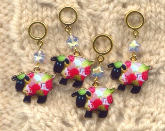 Patchwork Quilt Sheep Knitting Stitch Markers Set of 4 /SM01C