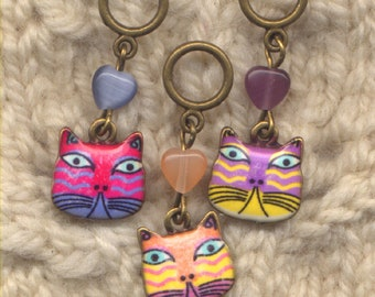 Taboo Tabbies Knitting Stitch Markers Colorful Cats Set of 3 /SM352