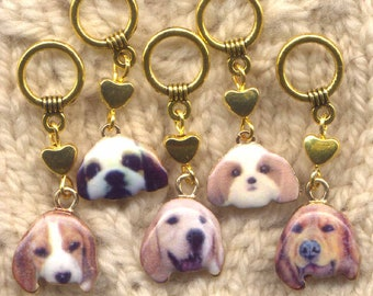 Bow Wow Dog Knitting Stitch Markers Must Love Dogs enameled Set of 5/SM300