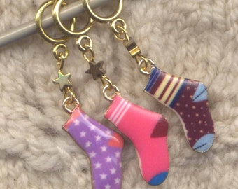 Single Sock Knitting Stitch Markers Second Sock Syndrome Enameled Set of 3/SM265B