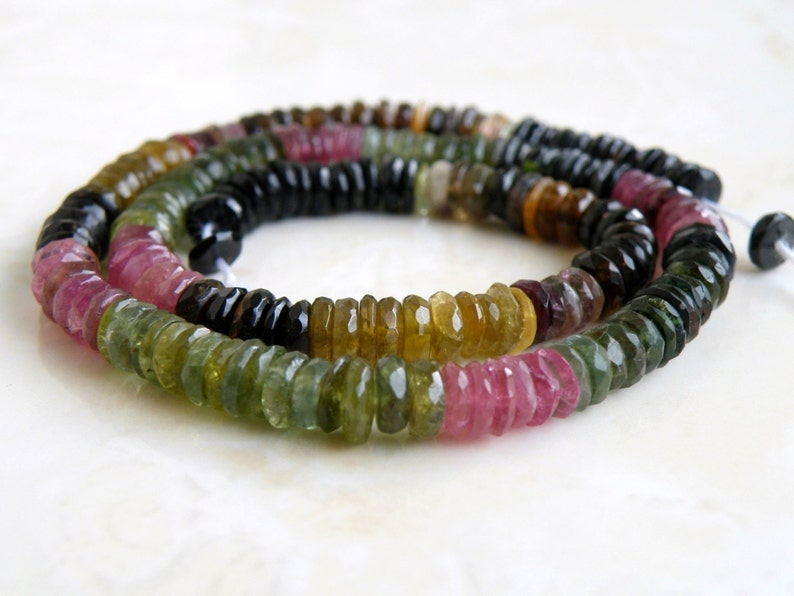 Tourmaline Gemstone Tyre Tire Faceted Heishi Multi  6mm 95 beads 12 strand Wholesale