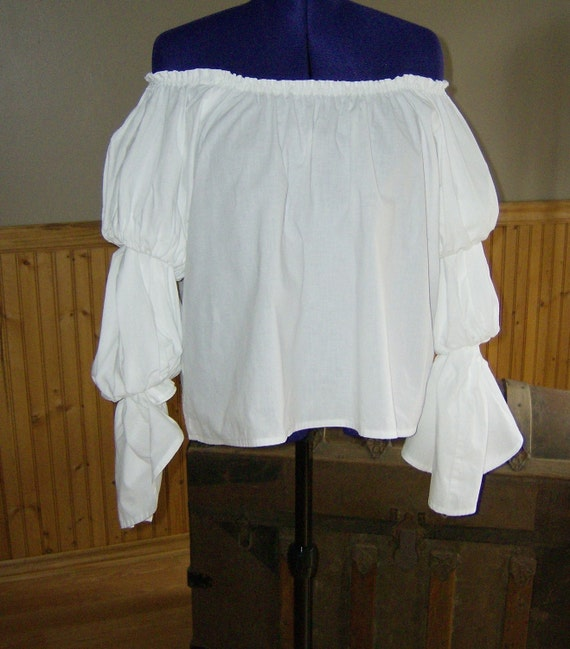 Pirate Wench Gypsy Renaissance Blouse Chemise Costume Handmade WHITE