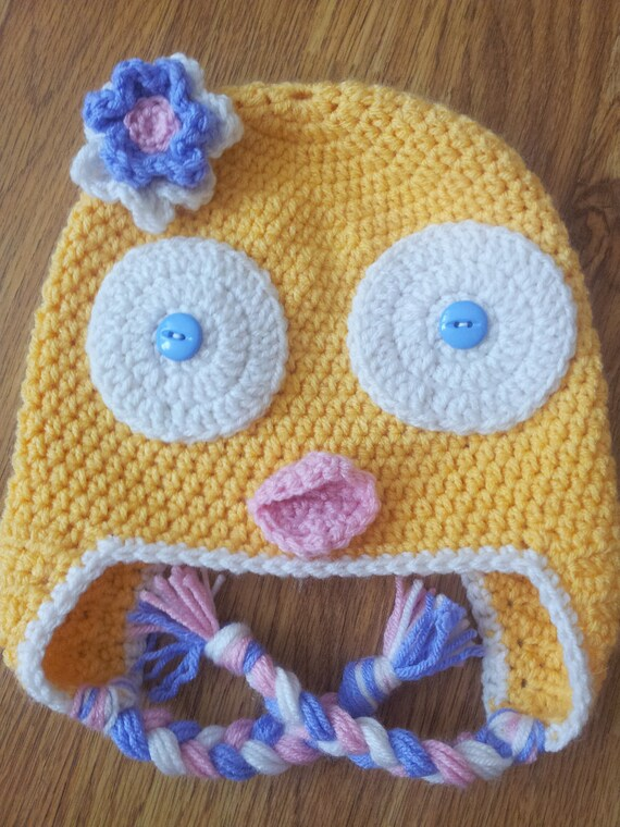 Yellow Easter Baby Chick Earflap Hat 1 4 Year Old Etsy