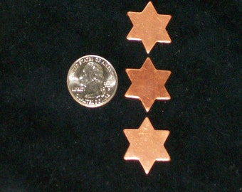 12 Pieces Vintage 1980/'s Celestial Jewelry ComponentsCharmsDrops Stamped Copper Stars Flat 8mm Size 1.25mm Loop Old Studio Stock