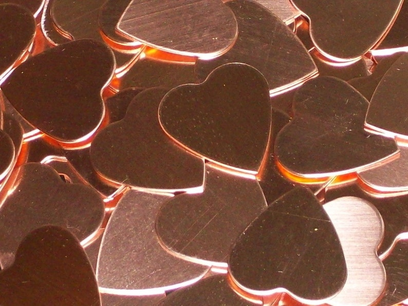 Copper Hearts stamping blanks metal blanks heart blanks image 0