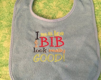 Baby Boy Machine Embroidered Bib - I make this bib look really good