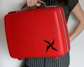 UPCYCLED Cherry Red VINTAGE Train or Suitcase with Black Chinese Throwing Star Luggage