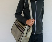 VINTAGE Silver Metallic Messenger Bag with Black and Cranberry Red Racing Stripes