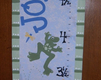 Froggy Fun Canvas Personalized Growth Chart