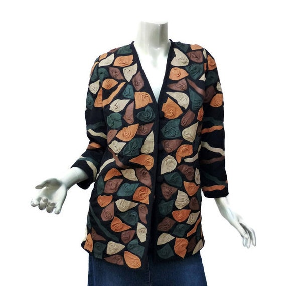 Vintage 3D Leather /& Rayon Falling Petals Jacket Size Small