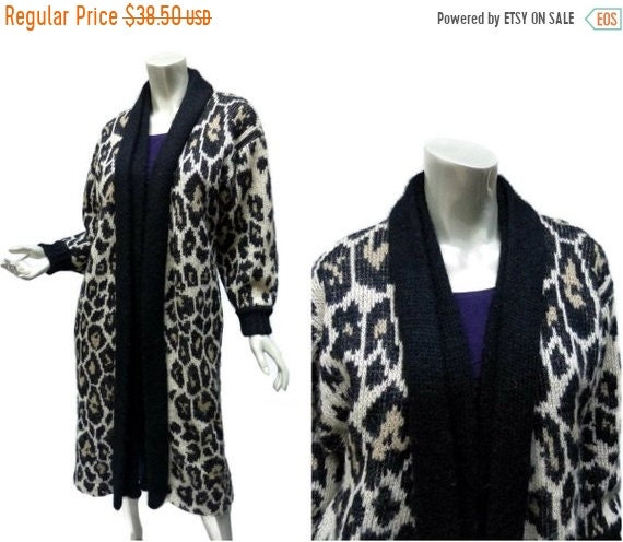 99f3a49dc ON SALE Leopard Print Sweater Coat Fuzzy Wool Size Small